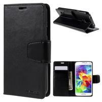 Elegantní peňaženkové puzdro pre Samsung Galaxy S5 - čierne