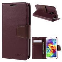 Elegantní peňaženkové puzdro pre Samsung Galaxy S5 - vínové