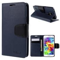 Elegantní peněženkové pouzdro na Samsung Galaxy S5 - tmavěmodré