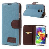 Jeans peňaženkové puzdro pre mobil Samsung Galaxy S5 - svetlomodré