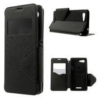 Peňaženkové puzdro s okienkom na Sony Xperia E3 - čierne
