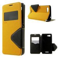 Peňaženkové puzdro s okienkom na Sony Xperia E3 - žlté