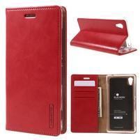 Moons PU kožené klopové puzdro pre Sony Xperia M4 Aqua - červené