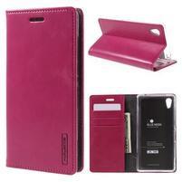 Moons PU kožené klopové puzdro pre Sony Xperia M4 Aqua - rose