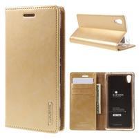 Moons PU kožené klopové puzdro pre Sony Xperia M4 Aqua - zlaté