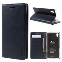 Moons PU kožené klopové puzdro pre Sony Xperia M4 Aqua - tmavomodré