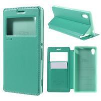 Okýnkové PU kožené pouzdro na Sony Xperia M4 Aqua - azurové