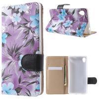 Květinkové pouzdro na mobil Sony Xperia M4 Aqua - fialové