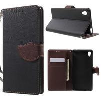 Leaf PU kožené puzdro pre mobil Sony Xperia M4 Aqua - čierne