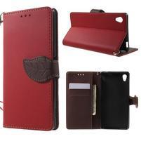 Leaf PU kožené puzdro pre mobil Sony Xperia M4 Aqua - červené