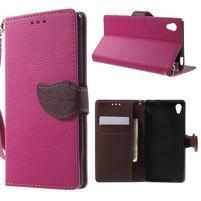 Leaf PU kožené pouzdro na mobil Sony Xperia M4 Aqua - rose