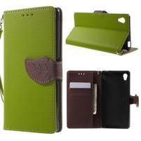 Leaf PU kožené pouzdro na mobil Sony Xperia M4 Aqua - zelené