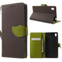 Leaf PU kožené puzdro pre mobil Sony Xperia M4 Aqua - hnedé