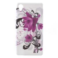 Emotive gélový obal pre Sony Xperia M4 Aqua - fialový kvet