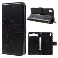 Butterfly PU kožené puzdro pre Sony Xperia X - čierne