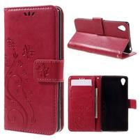 Butterfly PU kožené puzdro pre Sony Xperia X - červené
