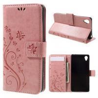 Butterfly PU kožené puzdro pre Sony Xperia X - ružové
