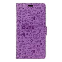 Cartoo Peňaženkové puzdro pre Sony Xperia X - fialové