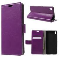 Horse PU kožené pouzdro na mobil Sony Xperia XA - fialové