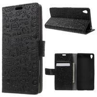 Cartoo Peňaženkové puzdro pre mobil Sony Xperia XA - čierne