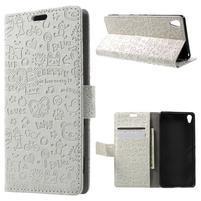 Cartoo Peňaženkové puzdro pre mobil Sony Xperia XA - biele