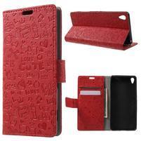 Cartoo Peňaženkové puzdro pre mobil Sony Xperia XA - červené