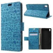 Cartoo Peňaženkové puzdro pre mobil Sony Xperia XA - modré