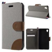 Denim textilní/koženkové pouzdro na Sony Xperia XA - šedé