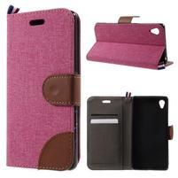 Denim textilné/koženkové puzdro pre Sony Xperia XA - rose