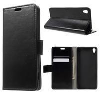 Horse PU kožené puzdro pre mobil Sony Xperia XA - čierne