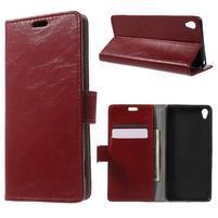 Horse PU kožené pouzdro na mobil Sony Xperia XA - červené