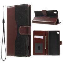 Jeansy PU kožené/textilné puzdro pre Sony Xperia XA - čierne