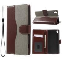 Jeansy PU kožené/textilné puzdro pre Sony Xperia XA - sivé
