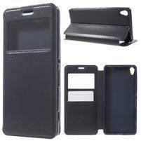 Royal PU kožené puzdro s okienkom na Sony Xperia XA - tmavomodré