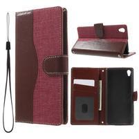 Jeansy PU kožené/textilné puzdro pre Sony Xperia XA - rose