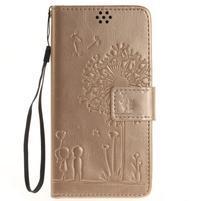 Dandely PU kožené puzdro pre mobil Sony Xperia XA - zlaté