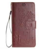 Dandely PU kožené puzdro pre mobil Sony Xperia XA - hnedé
