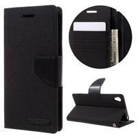 Canvas PU kožené/textilné puzdro pre mobil Sony Xperia XA - čierne