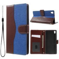 Jeansy PU kožené/textilné puzdro pre Sony Xperia XA - modré