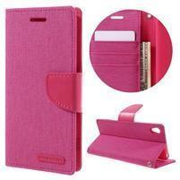 Canvas PU kožené/textilné puzdro pre mobil Sony Xperia XA - rose