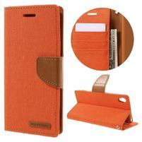 Canvas PU kožené/textilné puzdro pre mobil Sony Xperia XA - oranžové