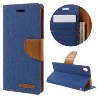 Canvas PU kožené/textilné puzdro pre mobil Sony Xperia XA - modré