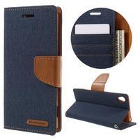 Canvas PU kožené/textilné puzdro pre mobil Sony Xperia XA - tmavomodré