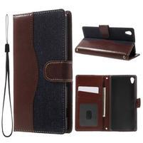 Jeansy PU kožené/textilné puzdro pre Sony Xperia XA - tmavomodré
