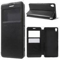 Royal PU kožené puzdro s okienkom na Sony Xperia XA - čierne