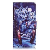 Emotive PU kožené knížkové puzdro pre Sony Xperia XA - mýtičtí vlci