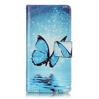 Emotive PU kožené knížkové puzdro pre Sony Xperia XA - modrý motýľ