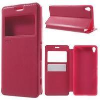 Royal PU kožené puzdro s okienkom na Sony Xperia XA - rose