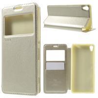 Royal PU kožené puzdro s okienkom na Sony Xperia XA - zlaté