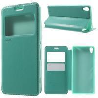Royal PU kožené puzdro s okienkom na Sony Xperia XA - azurové